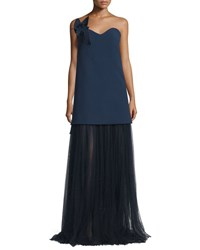Delpozo Strapless Sweetheart Gown W Contrast Tulle Skirt Insignia Blue
