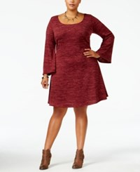 Love Squared Trendy Plus Size Marled Fit And Flare Dress Wine
