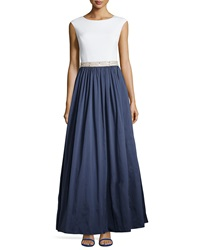 Aidan Mattox Jersey Bodice And Taffeta Skirt Gown