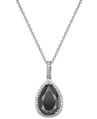 Macy's Black Sapphire 6 Ct. T.W. And White Topaz 1 4 Ct. T.W. Pendant Necklace In Sterling Silver