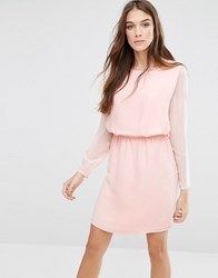 Lavand Classic Long Sleeve Waisted Dress Pink