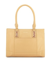 Cole Haan Savannah Smooth Snake Print Leather Tote Bag Tan