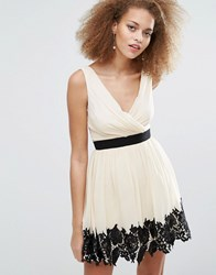 Little Mistress Skater Dress With Lace Border Cream