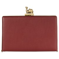 Jaeger Leather Camel Clasp Box Clutch Bag