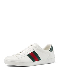 Gucci Leather Sneaker With Web Detail White Red Green