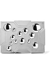 Lee Savage Space Bubbles Gunmetal Tone Box Clutch Silver