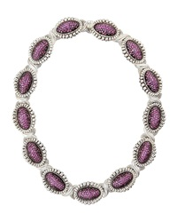 Lagos Fluted Pave Pink Sapphire Link Collar Necklace