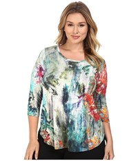 Karen Kane Plus Size Painted Hydrangea Tee Print Women's T Shirt Multi