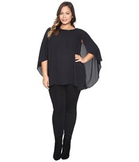 Vince Camuto Plus Size Cape Blouse With Embellished Neck Rich Black Women's Clothing