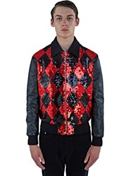 Saint Laurent Sequinned Diamond Harlequin Leather Teddy Jacket Black