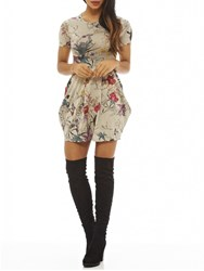 Ax Paris Cap Sleeve Printed Tulip Dress Grey