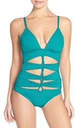 Women's Kenneth Cole New York 'Mio' Push Up One Piece Swimsuit Peacock