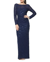 Lauren Ralph Lauren Stretch Sequin Lace Gown Lighthouse Navy Navy Sqn