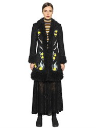 I'm Isola Marras Embroidered Boucle Coat W Faux Fur
