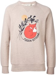 Maison Kitsune Sleeping Fox Print Sweater Nude And Neutrals