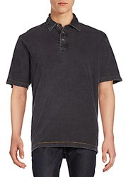 Saks Fifth Avenue Contrast Stitched Polo Shirt Black