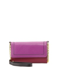 Neiman Marcus Colorblock Saffiano Leather Crossbody Wallet On Chain Burgundy Berry