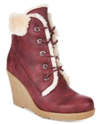 Mojo Moxy Dolce By Fresco Lace Up Wedge Booties Women's Shoes Burgundy