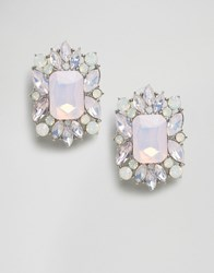 Asos Square Jewel Stud Earrings Opal Rhodium Silver