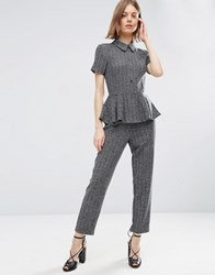 Asos Jumpsuit With Peplum In Herringbone Grey Multi