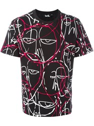 Haculla 'Abstract Faces' T Shirt Blue