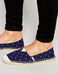 Brave Soul Espadrilles With Anchor Print Navy Blue