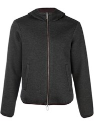 Emporio Armani Zip Up Hooded Jacket Grey