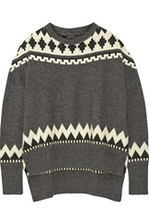 Adam By Adam Lippes Fair Isle Wool And Cashmere Blend Sweater Gray