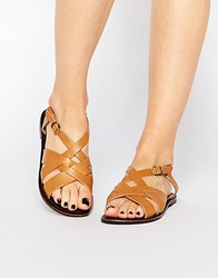 Park Lane Strap Sling Leather Flat Sandals Tan