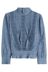 Citizens Of Humanity Chambray Blouse With Cut Out Detail Blue