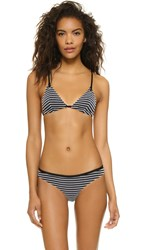 Fleur Du Mal Triangle Bikini Top Black White Peek A Boo Stripe
