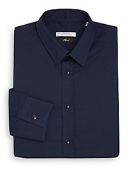 Versace Regular Fit Cotton Dress Shirt Navy