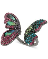 Betsey Johnson Hematite Tone Iridescent Stone And Pave Butterfly Cuff Ring Silver