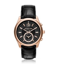 Michael Kors Aiden Rose Gold Tone And Leather Watch