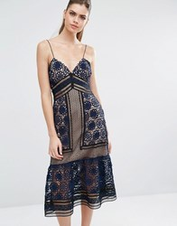 Self Portrait Strappy Maxi Dress In Blue Navy Black Nude