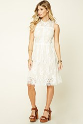 Forever 21 Crochet Lace Midi Dress White Taupe