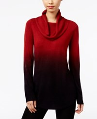 Ny Collection Cowl Neck Ombre Sweater Sundried Tomato Ombre