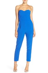 Women's Adelyn Rae Strapless Woven Jumpsuit Electric Blue