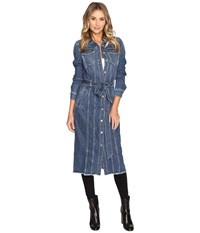 7 For All Mankind Long Trucker Jacket Waterloo Women's Coat Blue