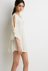 Forever 21 Crocheted Peasant Top Cream