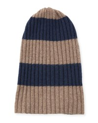 Portolano Men's Rugby Stripe Ribbed Beanie Hat Nile Brown Blue