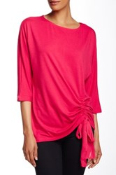 Kikit Elbow Length Sleeve Shirred Side Tie Tee