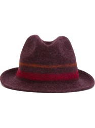 Paul Smith Painted Stripes Fedora Hat Red