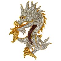 Eclectica Vintage 1980S Swarovski Gold Plated Swarovski Crystal Chinese Dragon Brooch Gold Multi