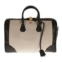 Treccani Milano Canvas And Leather Satchel Black