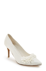 Menbur 'Lucia' Lace Pointy Toe Pump Women Ivory