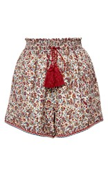 Talitha Intricate Print Ruched Shorts Red
