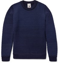 S.N.S. Herning Termina Basketweave Virgin And Merino Woo Bend Sweater Navy