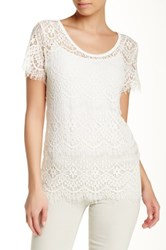 Melrose And Market Zip Back Lace Tee White