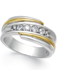 Macy's Men's Diamond Ring 1 2 Ct. T.W. In 10K White And Yellow Gold Two Tone